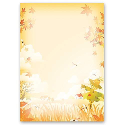 20 Blatt Briefpapier Jahreszeiten - Herbst VOGELSCHEUCHE - DIN A4 Format - Paper-Media