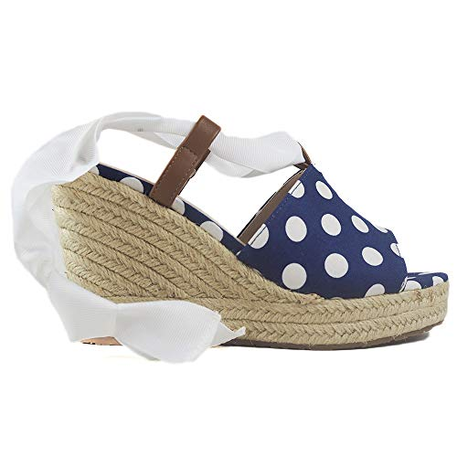 MARIA MARE 67431, Sandalia con cuña para Mujer, C45329 (Polka Navy) (40 EU, Azul)