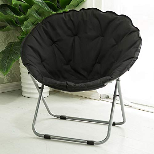 Großer Erwachsener Mond-Stuhl Sun-Stuhl-fauler Stuhl-Radar-Stuhl Recliner-Klappstuhl-runder Stuhl-Sofa-Stuhl Freizeitstuhl (Farbe : Rose rot),Schwarz