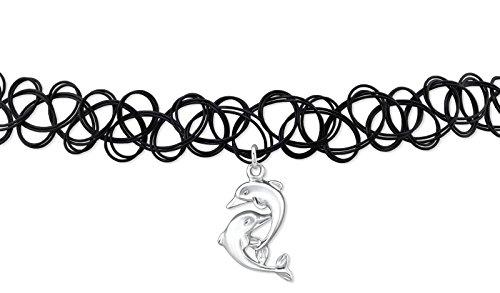 Luna Jule Choker Halsband Kette mit 2-Delphine Anhänger aus 925 Silber & Tattoo-Band schwarz elastisch - Gothic necklace
