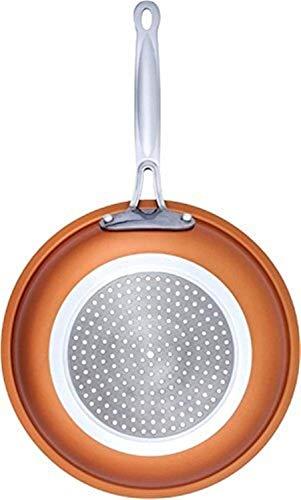 HNZZ Padella Antiaderente Copper Red Pan Ceramica Skillet induzione Padella Casseruola Forno e Lavabile in lavastoviglie 10 Pollici Padella Antiaderente (Color : 10 Inches)