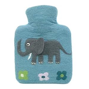 feelz – Wärmflasche klein gefilzt Elefant blau oder rosa, Kinderwärmflasche Filz, Wolle (Merino) Wärmflaschenbezug…