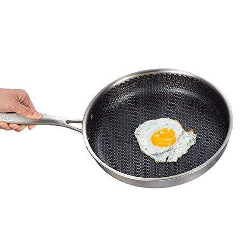 ZXAOYUAN PANTENIMIENTO Profesional DE FRITANTE Anterior - 24cm - Pan para La Carne Abrasadora, Panqueques De Cocina, Tortillas Y Más: Induction Compatible