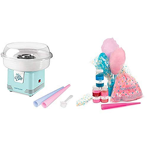 Nostalgia PCM425AQ Retro Hard and Sugar Free Countertop Cotton Candy Maker with Cotton Candy Party Kit