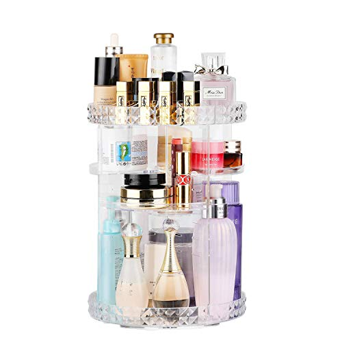 Makeup Organizer, 360 Degree Rotating Adjustable 6 Layers Cosmetics Organizer Box with Large Capacity, Best for Bathroom, Dresser and Bedroom, Clear Transparent