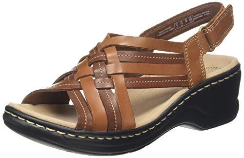 Clarks Lexi Carmen, Sandalias de Talón Abierto Mujer, Marrón (Tan Leather Tan Leather), 41 EU
