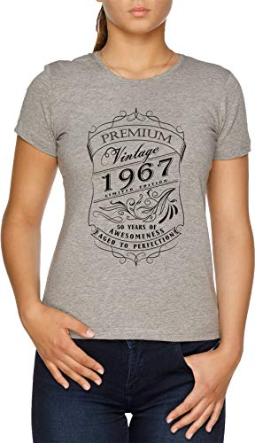 50th Birthday Gift T-Shirt Vintage Limited Born 1967 Edition Camiseta Mujer Gris
