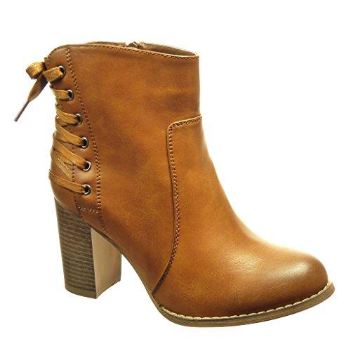 Angkorly - Damen Schuhe Stiefeletten - Low Boots - Spitze Blockabsatz high Heel 8 cm - Camel F1071 T 39