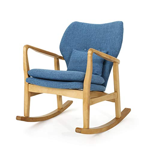 Christopher Knight Home Benny MidCentury Modern Fabric Rocking Chair Muted Blue / Light Walnut