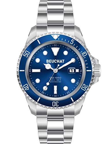BEUCHAT GB 1950 BEU1950/6 - Reloj con Correa de Acero con Cierre desplegable, Fondo Azul,...