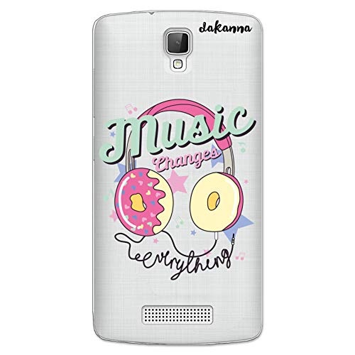 dakanna Funda para [ZTE Blade L5 - L5 Plus] de Silicona Flexible, Dibujo Diseño [Cascos Donut con Frase Music Changes], Color [Fondo Transparente] Carcasa Case Cover de Gel TPU para Smartphone