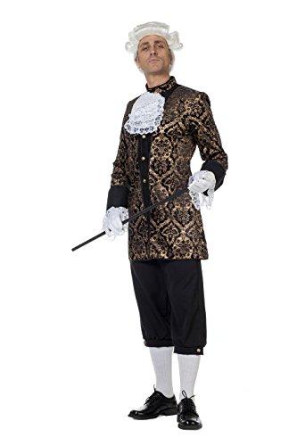 shoperama Marquis Louis Herren Barock Rokoko Kostüm Schwarz/Gold Samt Anzug GRAF König Adliger Edelmann französisch de Sade, Größe:52
