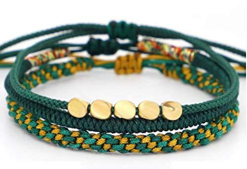 GOODCHANCEUK - Pulsera trenzada con diseño de nudo de diamante, 3 piezas de cuentas de cobre ajustable, pulsera tejida a mano, para hombres y mujeres