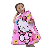 Leezeshaw Toalla de baño con capucha para niños, diseño de Hello Kitty, toalla de playa con capucha para niños y niñas, diseño de gato en 3D, toalla de secado rápido con capucha