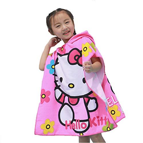 Leezeshaw Toalla de baño con capucha para niños, diseño de Hello Kitty, toalla de playa con...
