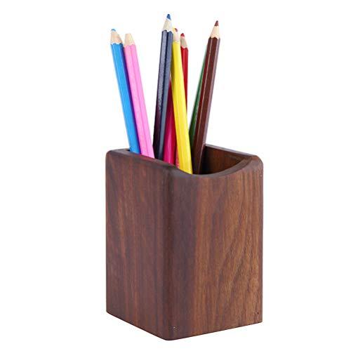 Toyvian Wooden Pen Box Multiple-Use Desk Organizer Eco Natural Wood Storage Box (Black Walnut)