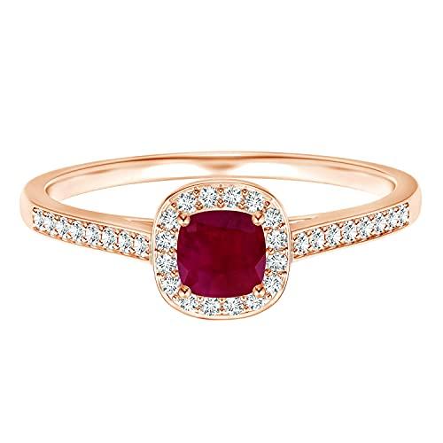 Clásico Cojín 5MM Rojo Piedra preciosa rubí Oro amarillo de 9 quilates Anillo de compromiso solitario (Oro rose, 24)