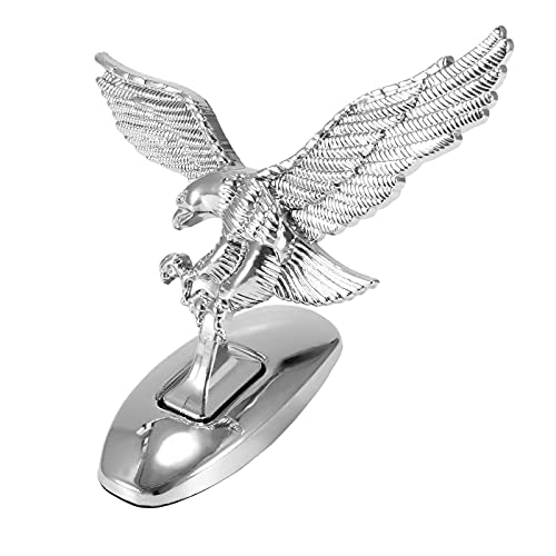 gdgsd 3D Metal Car Decals Waterproof Self-Adhesive Non-Rusting Delicate Hood Eagle Stand Sticker Car Metal Logo Sticker Decorative Chrome Car Stickers Bumper Stickers (1PC)