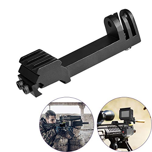 Universal Action Camera Gun Mount 2IN1 Picatinny Rail Mount Adapter Kit Compatible for Gopro Hero 8 7/6/5/4 Sony FDX HDR for Hunting Rifle Shotgun Pistol Carbine Airsoft Sports Camera Gun Rail Mount