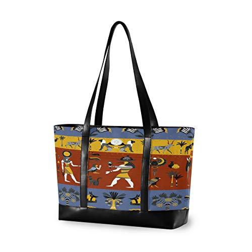 CPYang Laptop-Tasche, 39,6 cm (15,6 Zoll), antikes ägyptisches Palmenmotiv, Leinen, Schultertasche, große Handtasche, für Arbeit, Business, Schule, Reisen