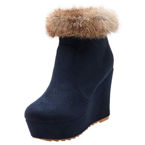 MISSUIT Damen Wedge Ankle Boots High Heels Keilabsatz Stiefeletten mit Fell und Plateau Keilstiefel Reißverschluss Winterstiefel(Blau,38)