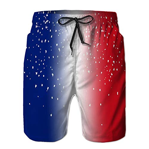 LJKHas232 Jugend Jungen 'Shorts Summer Beach Shorts Freizeithose Frankreich Flagge Unschärfe Papier ab Frankreich Flagge Unschärfe Papier Feier Party Overlay Scatter XXL