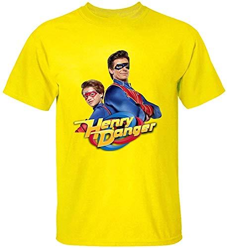 AngelSpace Cool Men's Soft Cotton Henry Danger Poster T Shirt,Yellow,Medium