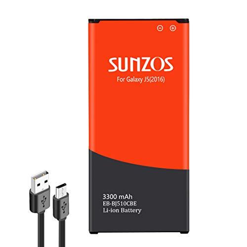SUNZOS - Batería para Samsung Galaxy J5 (2016), 3300 mAh, EB-BJ510CBE, SM-J510FN