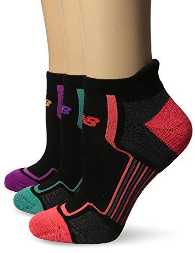 New Balance Women's Performance Low Cut Tab Socks (3 Pack), Black/Pink/Orange/Teal, Size 6-10