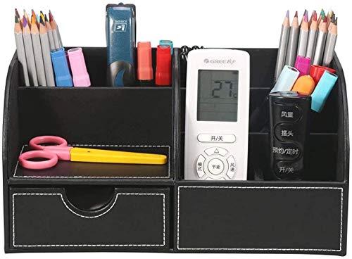 Omaloo Organizer da scrivania a 7 scomparti, in similpelle, per ufficio, multifunzionale, per materiali di cancelleria, telefono cellulare e telecomando Nero