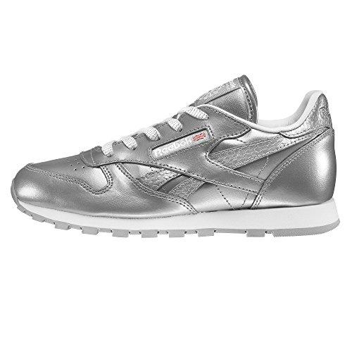 Reebok Mädchen Classic Leder Metallic Laufschuhe, Silber (Silver / White), 31.5 EU