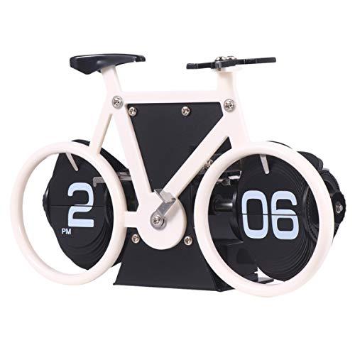 WINOMO Flip Clock Retro a Forma di Bicicletta Flip Down Clock da Tavolo Classico Orologio da Tavolo Meccanico per Home Office Decor (Bianco)