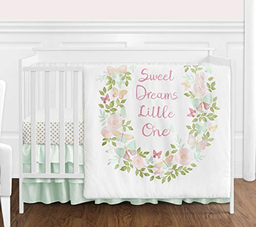 Sweet Jojo Designs Blush Pink, Mint and White Shabby Chic Butterfly Floral Baby Girl Crib Bedding Set - 4 Pieces - Watercolor Rose