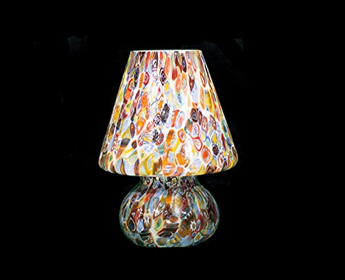 Tischleuchte Murano Badolo – Murrine mehrfarbig – Höhe 48 cm Durchmesser 33 cm   Tischlampe Murano Bad