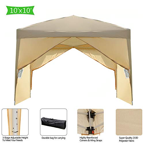 Goujxcy 10x10 Ft Pop up Canopy,O...