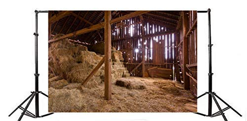Baocicco 9x6ft Rustic Old Barn Backdrop Straw Hay Backdrop Farmhouse Hay Bale Backdrop Western Farm Background Hay Hayloft Scene Backdrop Welcome The Newborn Baby Theme Vintage Wooden Barn Prop