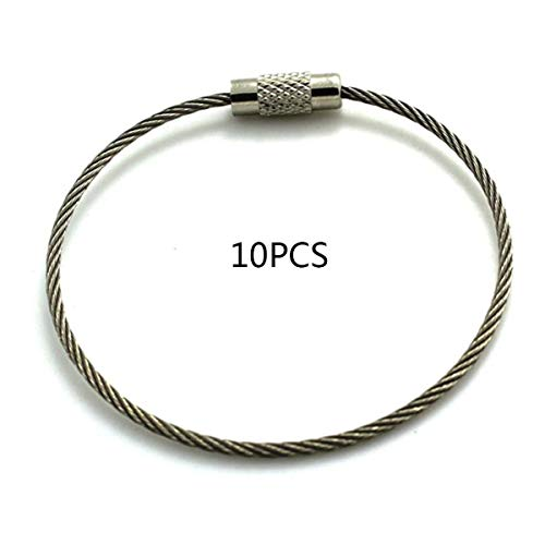 Stainless Steel Covered Rubber Wire Rope Wire Ring Key Ring Stainless Steel Key Ring Pan Utility Keychain Gugutogo
