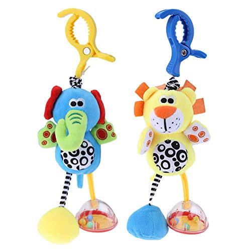 Eenbei Baby Toys for 3  6  9  12 Months  Hanging Rattle Toys for Babies  Soft Plush Stuffed Animal Rattles Stroller Accessory for Infant Car Bed Crib  Set of 2