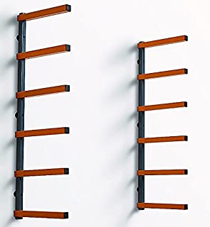 Bora Portamate PBR-001 Wood Organizer and Lumber Storage Metal Rack with 6-Level Wall Mount – Indoor and Outdoor Use
