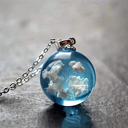 XIHUANNI Collier avec pendentif lumineux LED transparent, breloque ciel 3D boule en résine cristal bijoux de fête de mariage, ciel bleu lumineux et nuages blancs collier pour femme