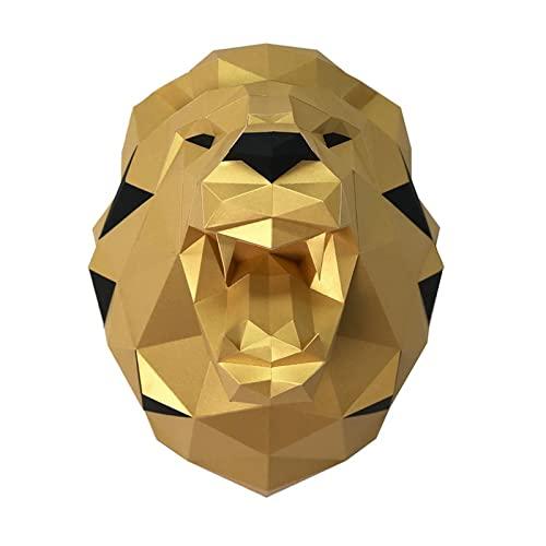 LWKBE DIY 3D Wolf Head Animal Papercraft Building Kit Moder de Pared -Stracta Wall Art Decor Animal Craft Kit,Oro