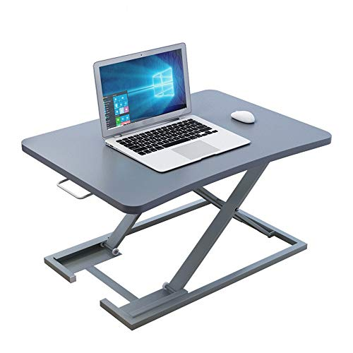 KPOON Stehpult Converter Büroarbeitsstation Home Office Höhenverstellbarer Lift Desk Mobile-Desk Laptop Riser (Color : Silver, Size : 73X47X40cm)