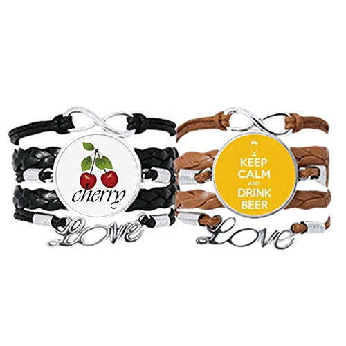Bestchong Quote Keep Calm and Drink Beer Yellow Bracelet Hand Strap Leather Rope Cherry Love Wristband Double Set