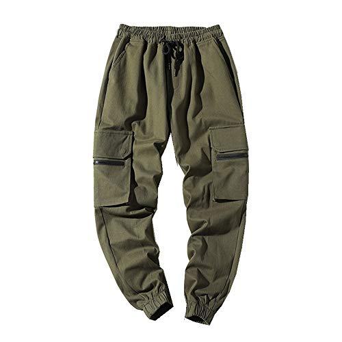 SoonerQuicker Cargo Herenbroek, met elastiek, veel zakken, ritssluiting, veel zakken, vrijetijdsbroek, rechte pijpen, straight, trekkoord, joggingbroek, heren broek, loose fit, sportbroek