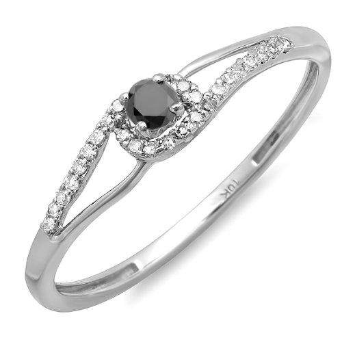 DazzlingRock Collection Anillo Nupcial de Compromiso Nupcial de Compromiso de Mujer de 0,16 Quilates (CTW) de Oro Blanco y Diamantes de 10 kilates 9
