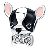 Reiko Chihuahua Perro Abalorios de Plata de Ley 925,Colgante y Dijes para Pulseras Pandora&Chamilia,Originales Bead Charm para Collares
