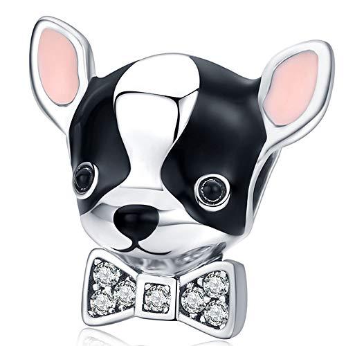 ZiFouDou Abalorio para Pulsera Pandora&Chamilia,Abalorio de Plata de Ley 925,Originales Bead Charm para Collare -Chihuahua Perro