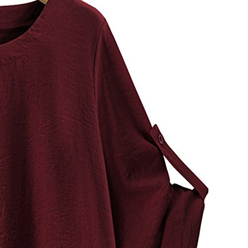 iTLOTL Women O Collar Loose Girl 3/4 Long Sleeve Autunm Plus Size Shirt (Wine Red ,US-16/CN-2XL) 5
