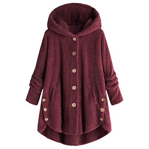 Frauen Sweatshirt Wintermantel Mode Loose Batwing Sleeve Warm Fleece Mantel Tops Hut Mode Große Winterjacke Outwear Loose Pullover Hoodie Einfarbig Plüsch Warm Tops 5XL