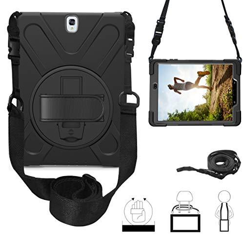 TianTa Funda para Galaxy Tab S3 9.7 Case, Híbrido Tres Capas Funda Carcasa Protector con Correa de Bandolera y Mano, 360 Rotación Kickstand para Samsung Tab S3 9.7 SM-T820/T825,Negro